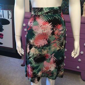Ava and Viv tropical botanical jersey skirt